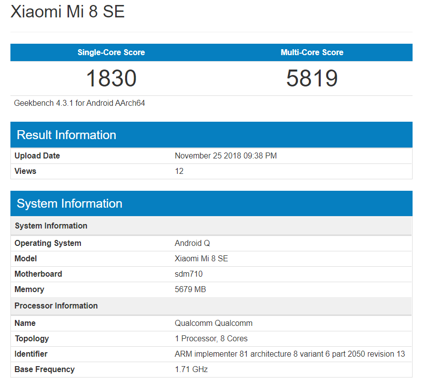 Xiaomi Mi 8 Se Operating Android Q Seen On Geekbench
