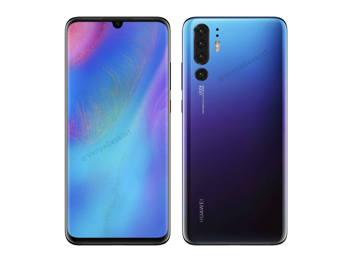 Huawei P30 Pro Renders Prove Notched Curved Show And Quad Digital Cameras Design