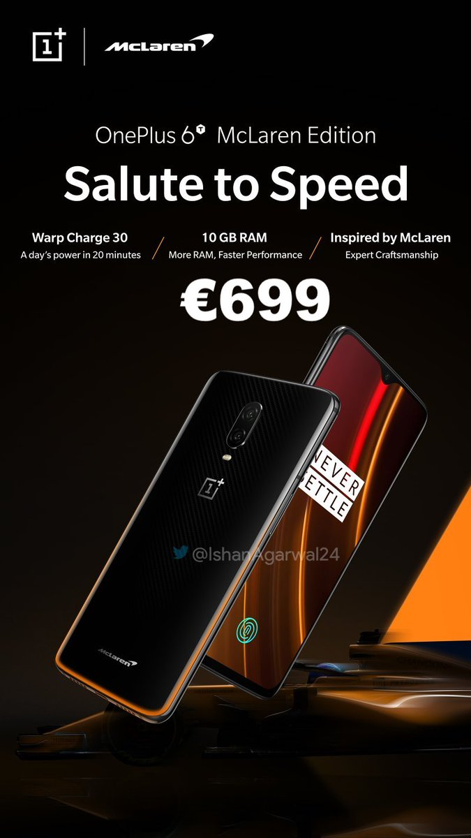 Oneplus 6t Mclaren Edition To Price Tag 699 (~5) Euros; Will Be The Other Expensive Oneplus Cameraphone