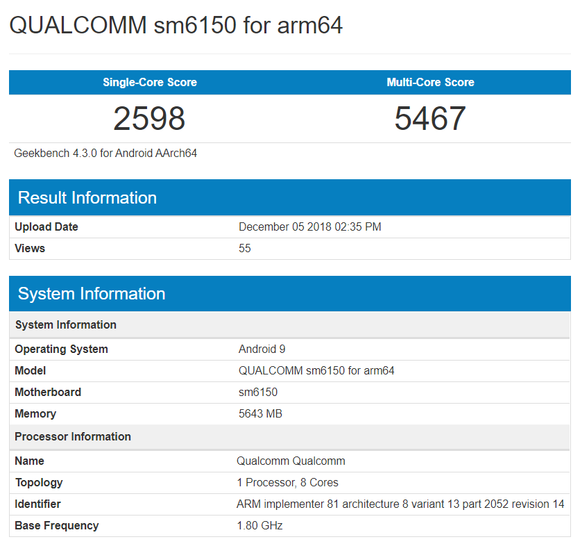 Snapdragon Sm6150 Test Product Appears On Geekbench
