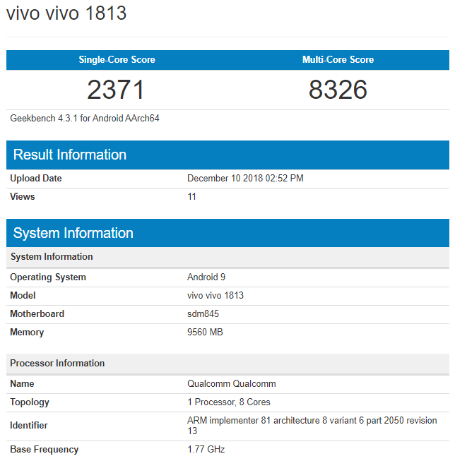 Vivo Phone With Sd 845 And 10gb Ram Seen On Geekbench May Be Vivo Z3 Pro