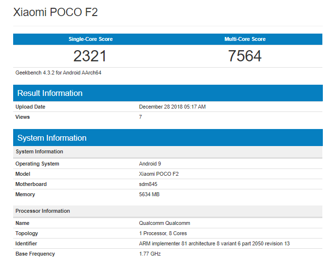 Xiaomi Poco F2 Geekbench Listing Reveals Cpu And Ram