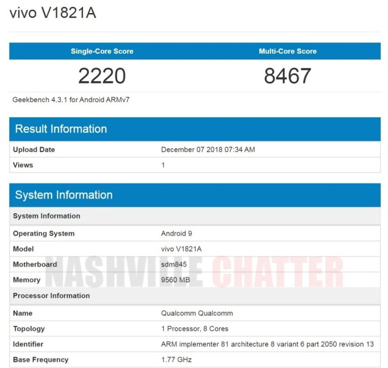 Geekbench Confirms Snapdragon 845, 10 Gb Ram On Vivo Nex 2