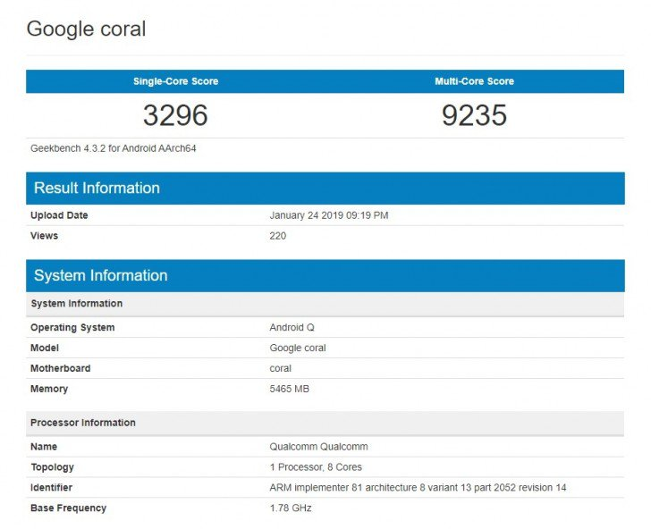 Google Pixel 4 With Sd 855 Seems On Geekbench
