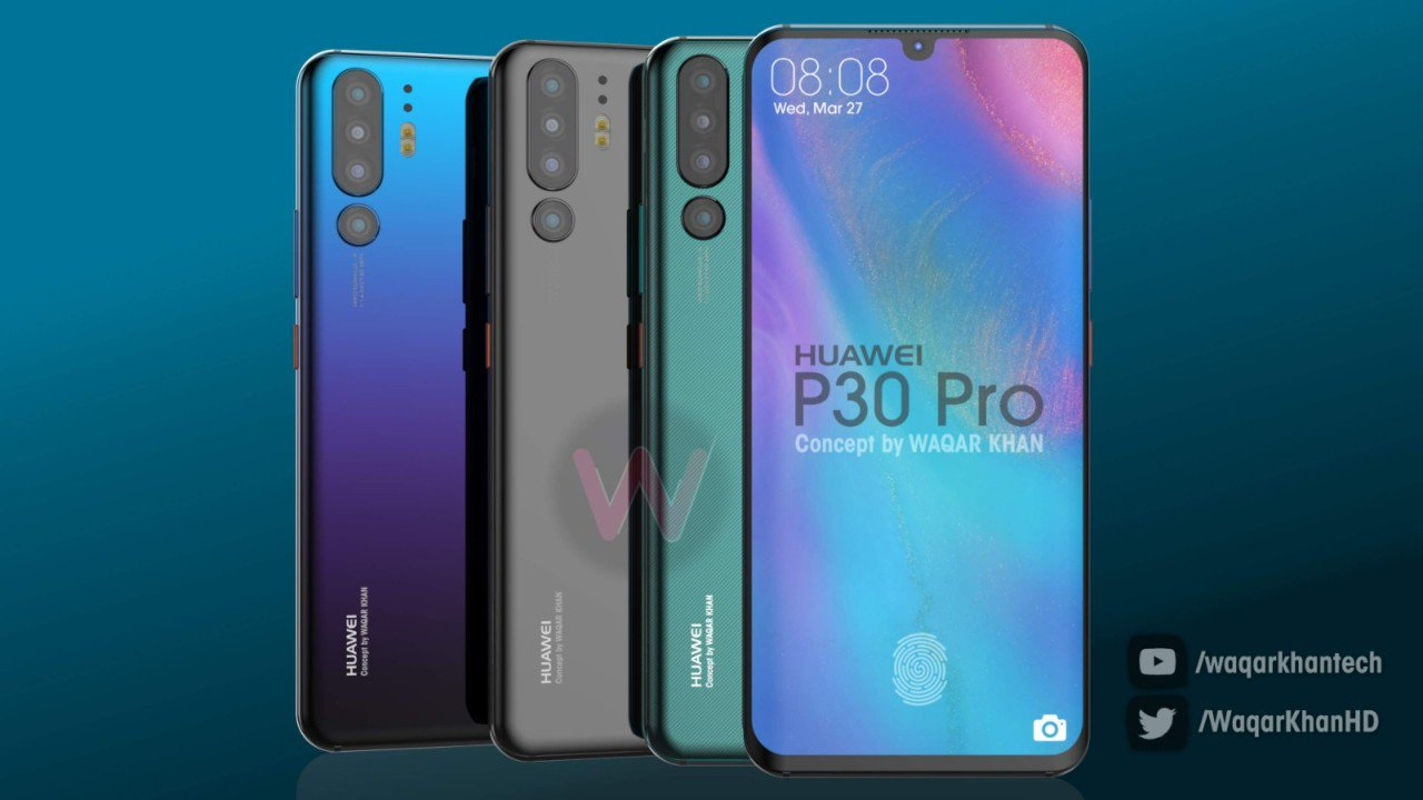 Huawei P30 Pro Render Shows The Phone's Design And Quad Rear Digital Cameras