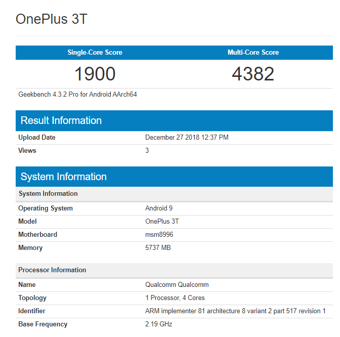 Oneplus 3 & Oneplus 3t Operating Android Pie Spotted On Geekbench