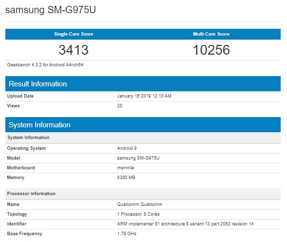 Samsung Galaxy S10+ Geekbench Scores Engage Astonishing Functionality