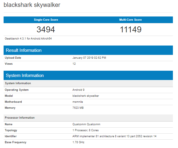 Xiaomi Black Shark Skywalker With Snapdragon 855, 8 Gb Ram Shows On Geekbench