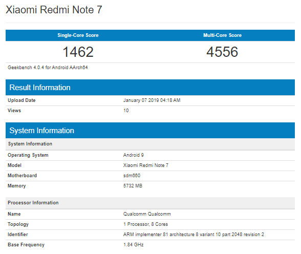 Xiaomi Redmi Note 7 Spotted On Geekbench With Sd 660, 6 Gb Ram