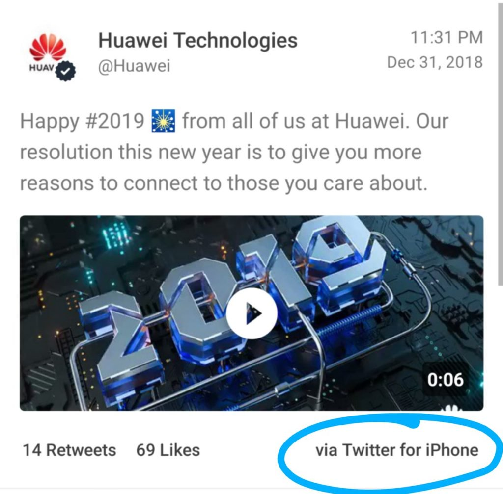 Huawei Punishes Employee That Tweeted Fresh Year Greetings With An Iphone