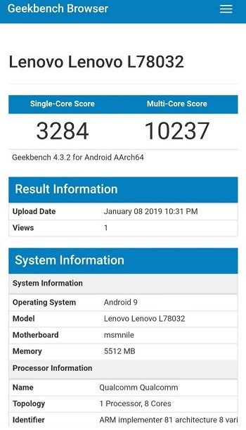 Lenovo Z5 Pro Gt Powered By Sd 855 Chipset Looks On Geekbench