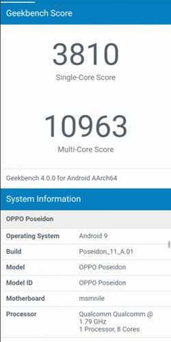 Oppo 'poseidon' Looks On Geekbench; Attributes Sd855 Soc And Android Pie