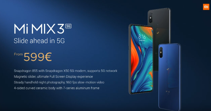 Xiaomi Launches Mi Mix 3 5g For €599 At Mwc 2019