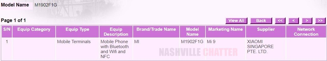 Xiaomi Mi 9 Certified In Singapore