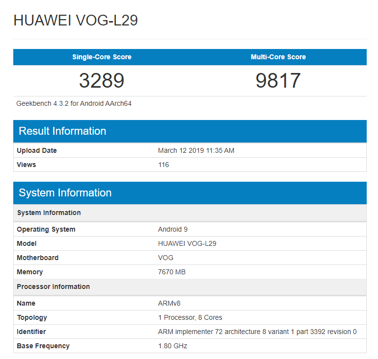 Huawei P30 Pro hits Geekbench with Kirin 980 and 8GB RAM