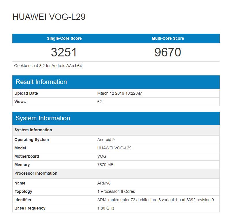 Huawei P30 Pro hits Geekbench with Kirin 980 and 8GB RAM1