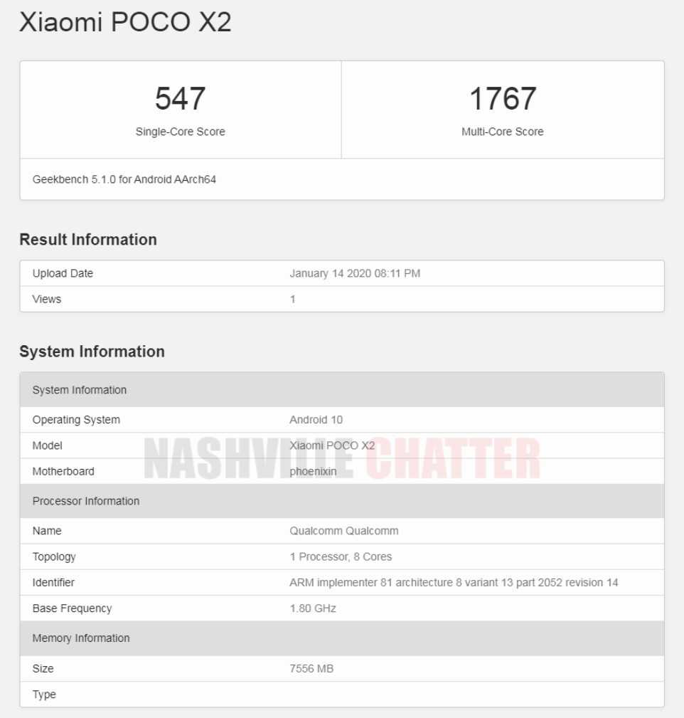 Poco X2 Geekbench listing reveals 8 GB RAM and Android 10 OS