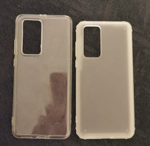 Huawei P40 and P40 Pro silicone cases show the camera setup