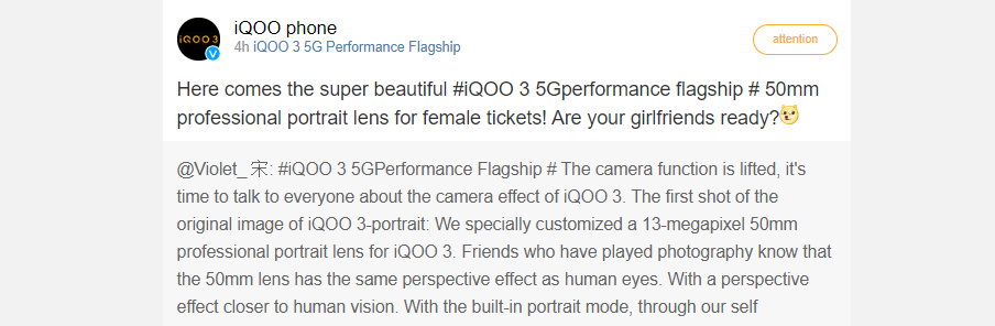 iQOO 3 to sport 50mm portrait lens - sample images revealed 1