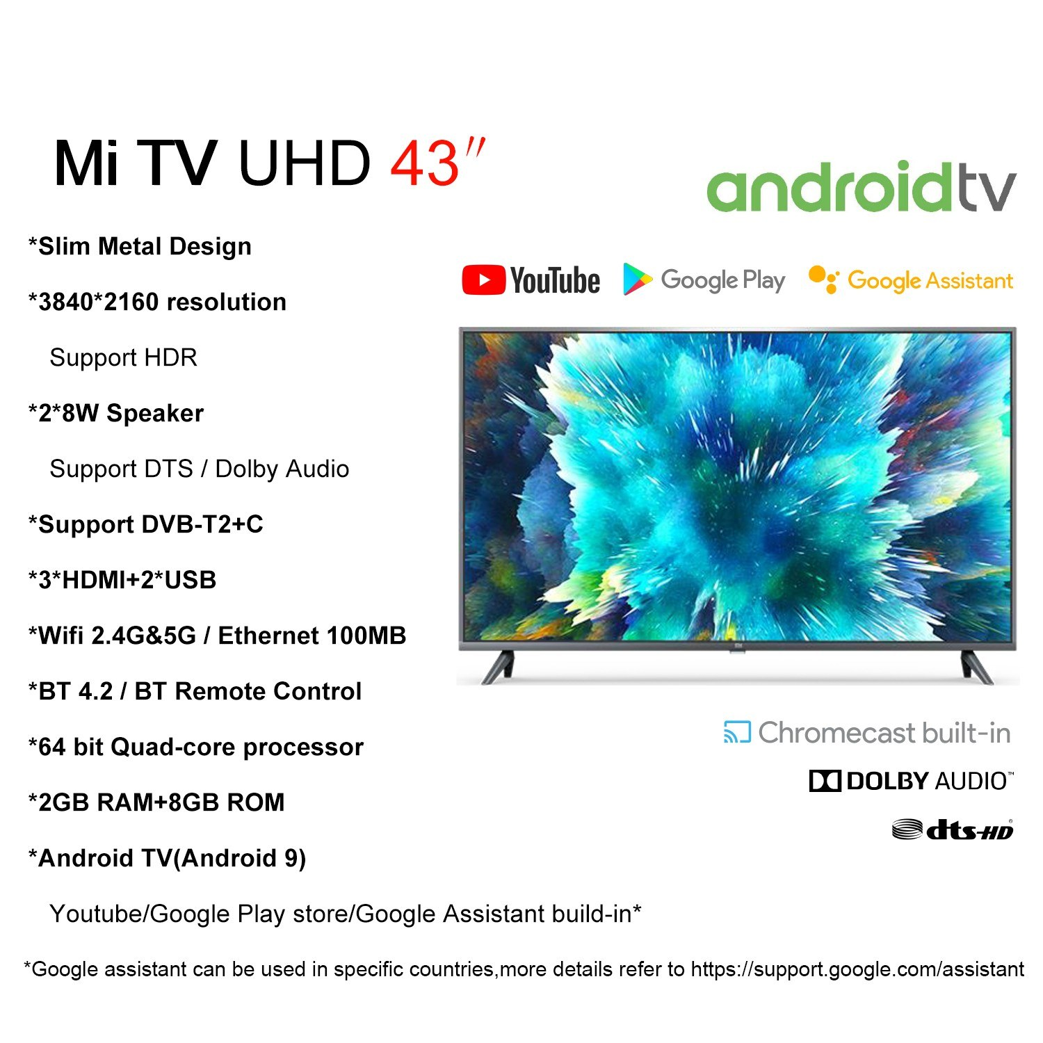 Xiaomi 43 Inch Mi TV 5G WiFi BT Smart TV Television stats